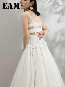 Hem Temperament Dress Pleated Strapless White Women Fashion EAM Summer Hollow-Out Back