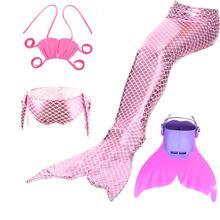 2019 mały ogon syreny s dla kostium kąpielowy ogon syreny Cosplay strój kąpielowy dla dziewczyn dzieci dzieci Swimmable garnitur Monofin