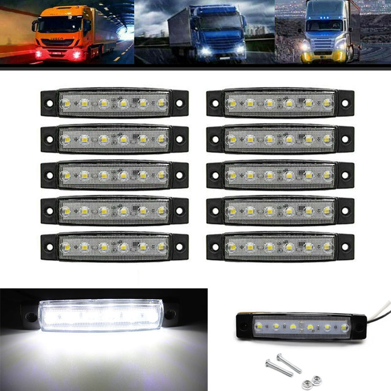 10pcs 12V Car External Lights White 6 SMD LED Auto Truck Lorry Side Marker Indicator Trailer Light Tail Rear Side Lamps