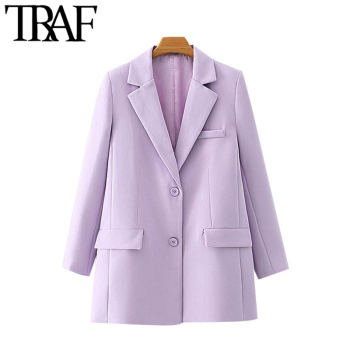 TRAF Women Fashion Office Wear Single Breasted Blazer Coat Vintage Long Sleeve Pockets Female Outerwear Chic Tops