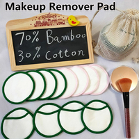 5Pcs/bag Reusable Bamboo Cotton Make Up Remover Pad Washable Rounds Facial Cleansing Pads Face Wipes Portable with Laundry Bag 1