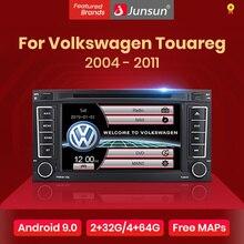 Lecteur dvd multimédia autoradio Junsun 2 din pour VW Volkswagen Touareg 2004   2011 Transporter Android 9.0 GPS 4 + 64 go en option
