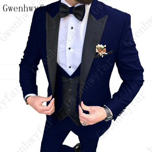 Image 4 - 2020 Latest coat pants designs Brown men suit Slim fit elegant tuxedos Wedding business party dress jacket+vest pants terno