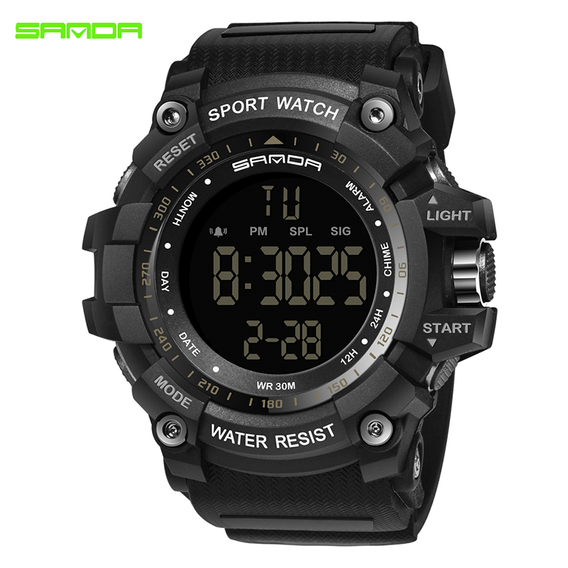 SANDA Military Electronic Watch Men Waterproof Sport Wrist Watches LED Digital Watches Shock Resist Clock Relogio Masculino 359