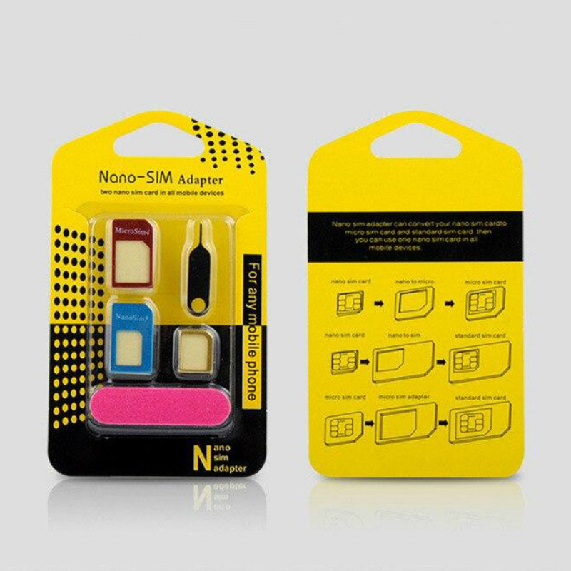 5 In 1 Sim Card Trays Adapters Metal Holder Card with Sander Open Needle Tray for All Phones Standard/Nano/Micro Slot Conversion