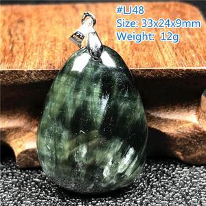Image 5 - Pendentif en Seraphinite verte naturelle pour femmes et hommes, amour cadeau, perles en forme de goutte deau, pierres précieuses, collier pendentif, bijoux AAAAA
