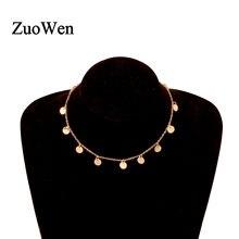 Moda brilhante cor de ouro lantejoulas moeda borla pingente feminino gargantilha colar senhoras curto corrente colares colar jóias presente