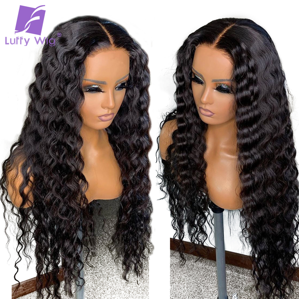13x6 Lace Front Fake Scalp Deep Wave Wig 180% Human Hair Lace Wigs PrePlucked Bleached Knots Remy Brazilian Hair For Women LUFFY