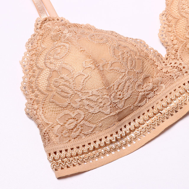 1/2PCS French Style Bralette Seamless Deep V Lace Bra Wireless Thin Underwear Sexy Lingerie Soft Bras For Women Hot 26