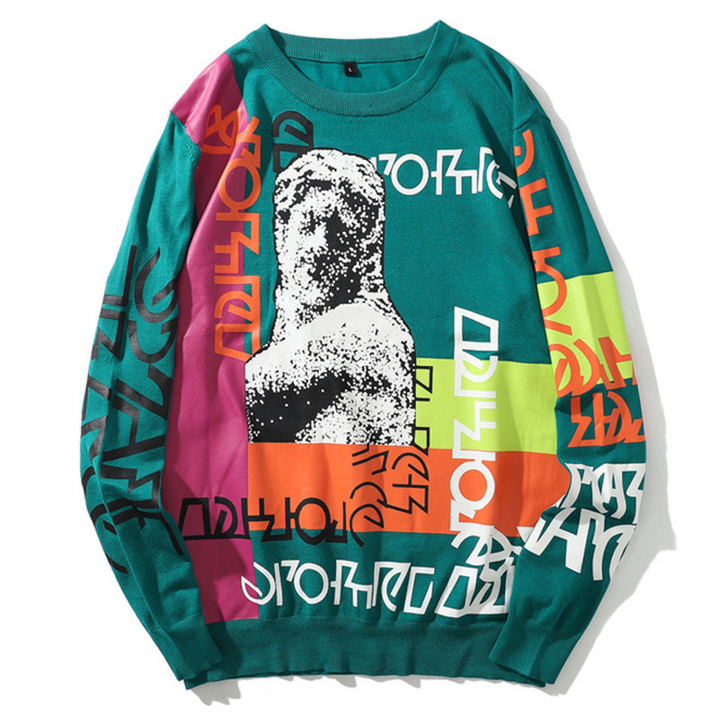 Sweater Men Graffiti Letter Print Pullover Funny Tracksuit Hip Hop Male Sweaters Knitted High Street Casual Streetwear