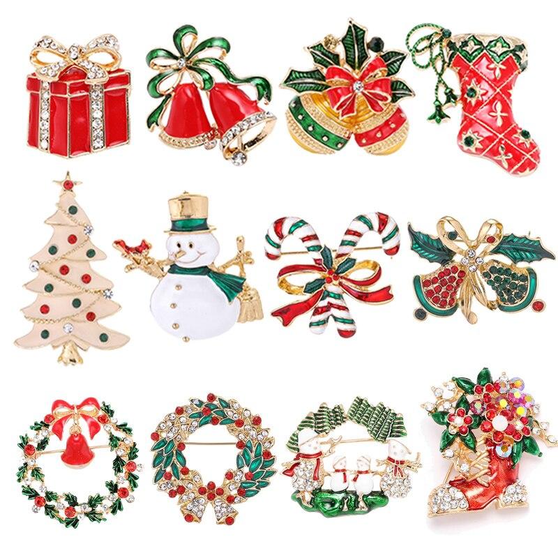 Boosbiy 2019 Новое поступление рождество эмаль Снеговик Санта елка брошь «колокольчик» Pin рождественские подарки аксессуары изящные украшения д...