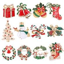 Boosbiy 2019 New Arrival Xmas Enamel Snowman Santa Tree Bells Brooch Pin Christmas Gifts Accessories Fine Jewelry For Women