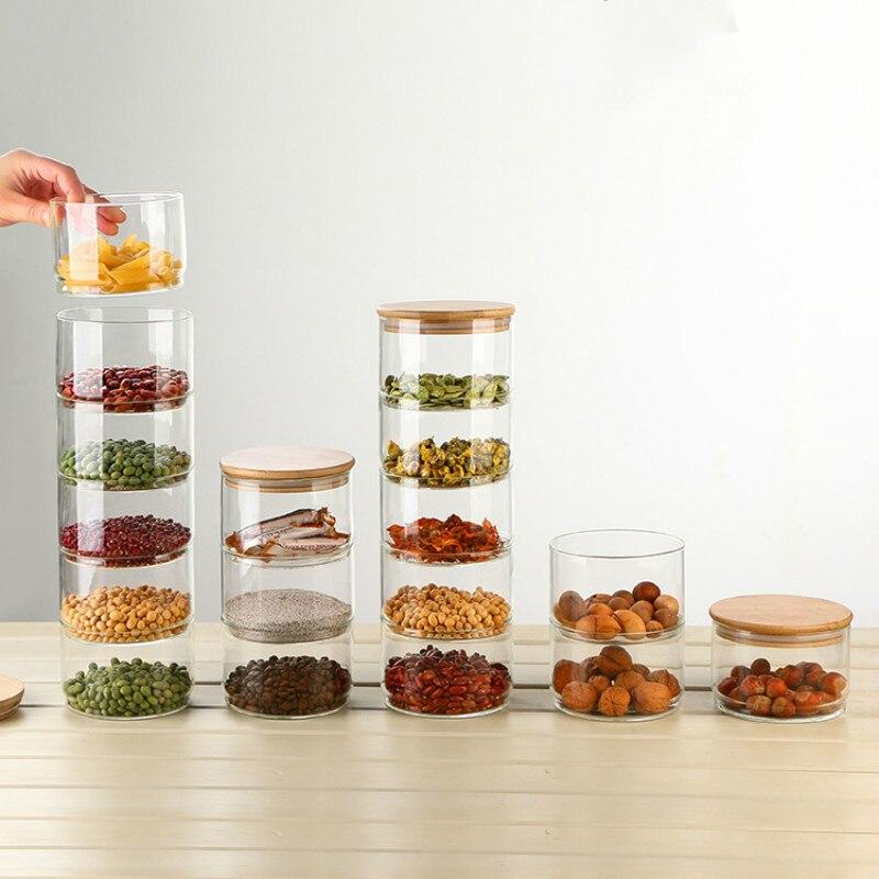 Heat-Resistant Glass Storage Tank Sealing Tea Free Stacked Multi-Layer Storage Dried Spices Food Storage Bottle