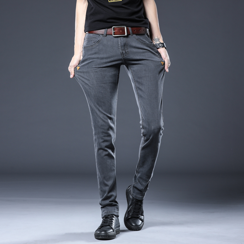 BROWON Korean Style Skinny Jeans Men Ripped Fashion 2020 Mid Waist Long Length Stretch Denim Pant Plus Size Slim Pencil Jeans