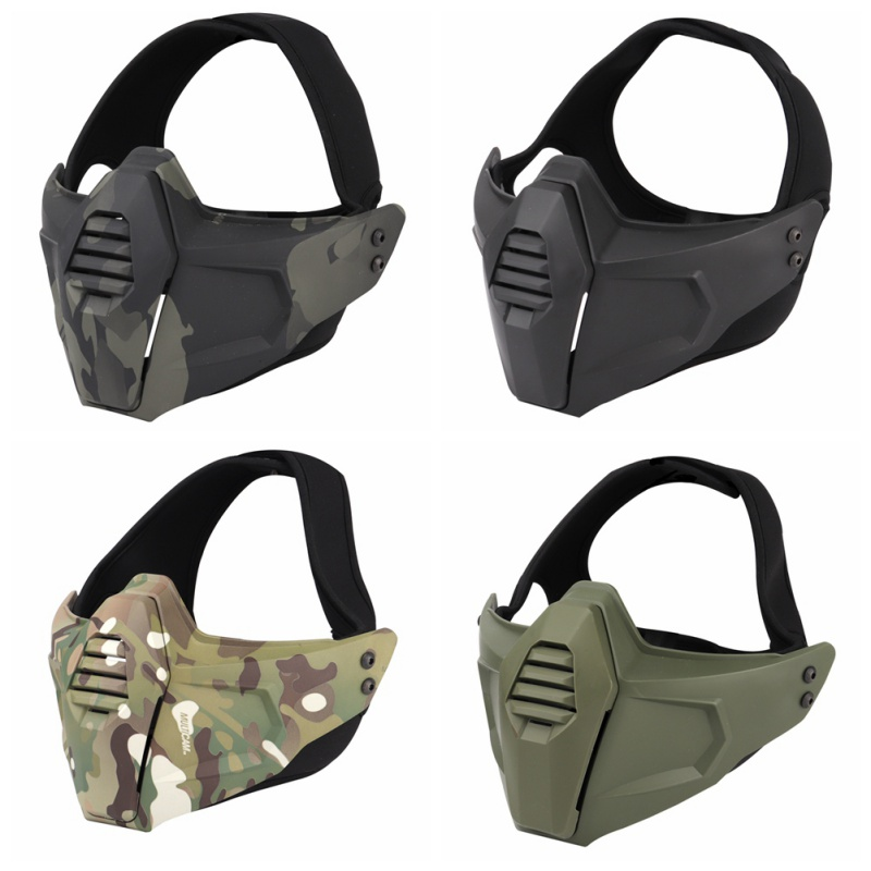 (Tactical) Hunting Mask Airsoft Face Mask Shooting Wargames Camo Half Face Protective Lower Mask Paintball Protection Mask Prote