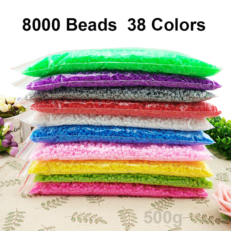 38 Colors 8000PCS Fusing Beads 5MM Ironing Beads Supplementary Hama Beads Set 3D Puzzle Toys