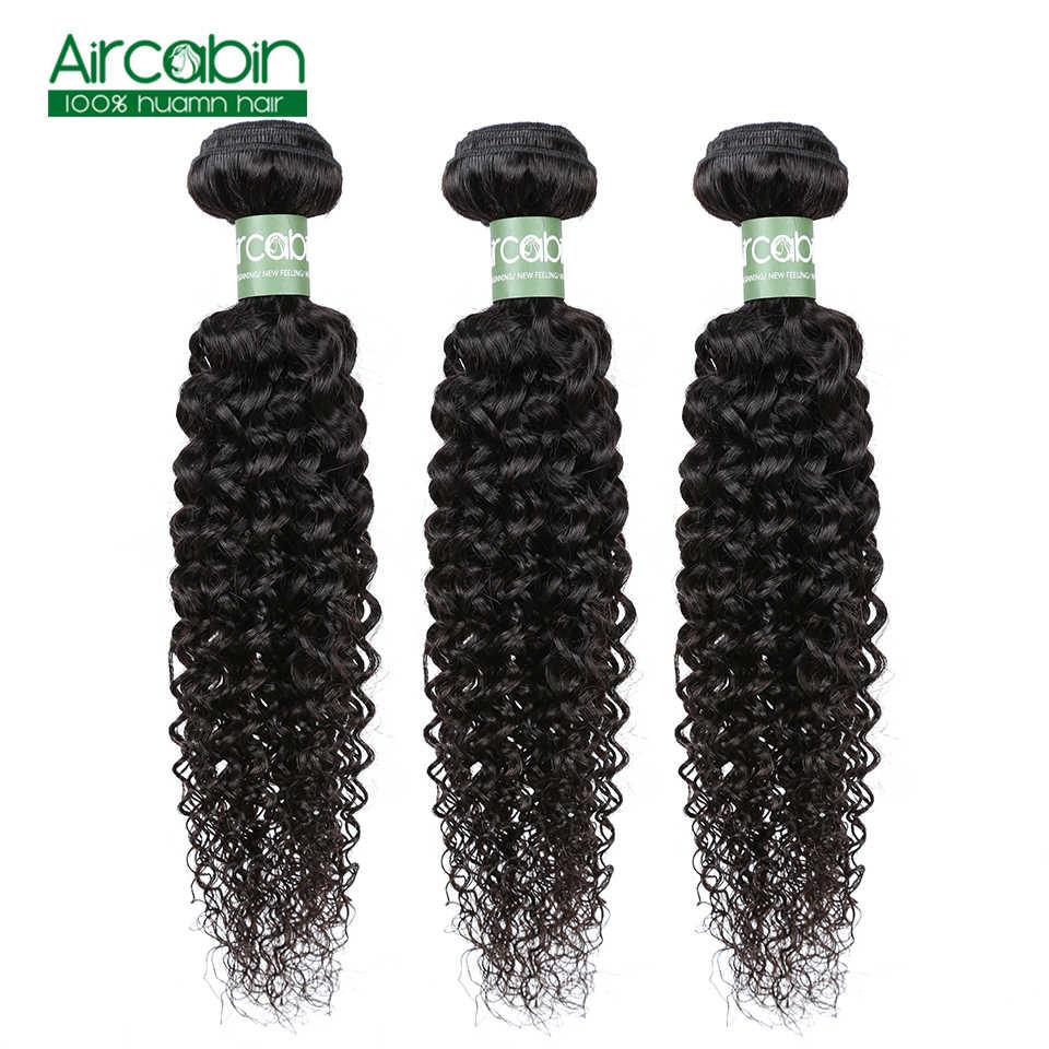 Brasil Keriting Keriting Rambut 3 Bundel 100% Rambut Manusia Menenun 8-26 Inci Warna Alami Aircabin Remy Manusia ekstensi Rambut