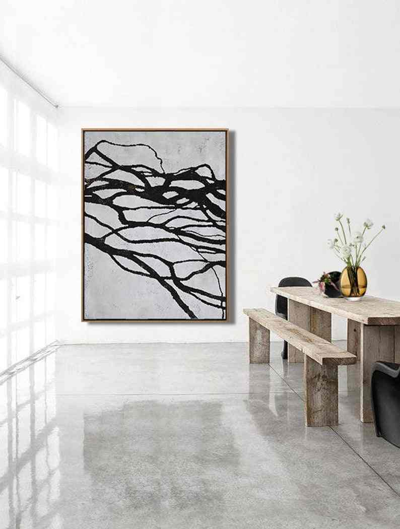 Mid Century Modern Art Living Room Art Decor Large Wall Art Black White Brown Wall Art Canvas Painting Canvas Art House Decor Painting Calligraphy Aliexpress