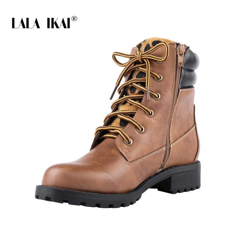 LALA IKAI çizmeler kadın 2019 sonbahar bahar dantel kahverengi düz yarım çizmeler kadın leopar Patchwork fermuar ayakkabı kadın WA8094-4