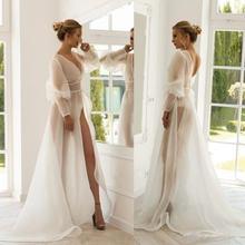 2020 Прозрачные Свадебные жакеты из органзы с длинным рукавом