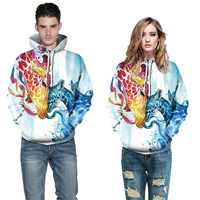 Cross Border Hot Selling Puppy Digital Printing Men And Women Long Sleeve Hoodie Couple Clothes Pullover Sports Baseball Uniform