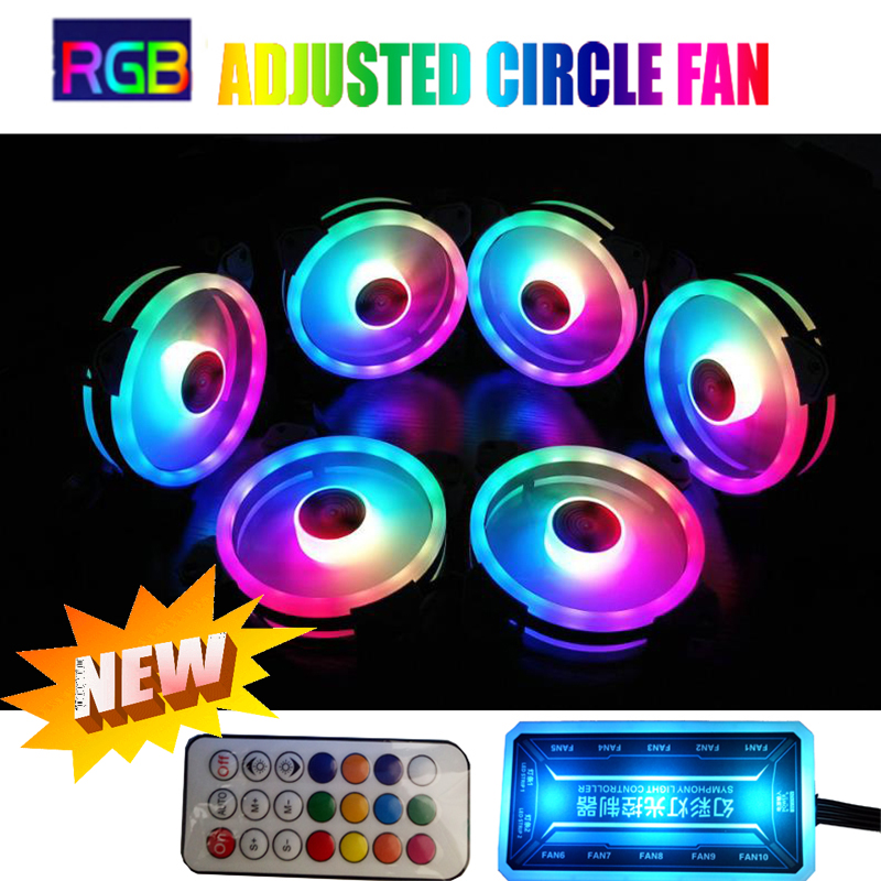 RGB Fan Set 12cm Inside And Outside Circle Led Cooler Computer PC Case Fan RGB Adjust LED Fan Speed 120mm Quiet Fan With Sync