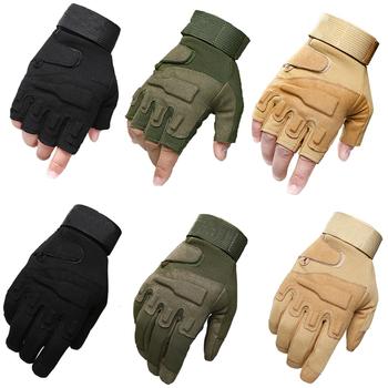 Taktycznej walce pół pełne rękawiczki wojskowe armii rękawiczki bez palców Airsoft rower sport na świeżym powietrzu strzelanie rękawice myśliwskie tanie i dobre opinie CLUSGO Microfiber Nylon Pasuje prawda na wymiar weź swój normalny rozmiar Full Half finger gloves M L XL Black Green Tan
