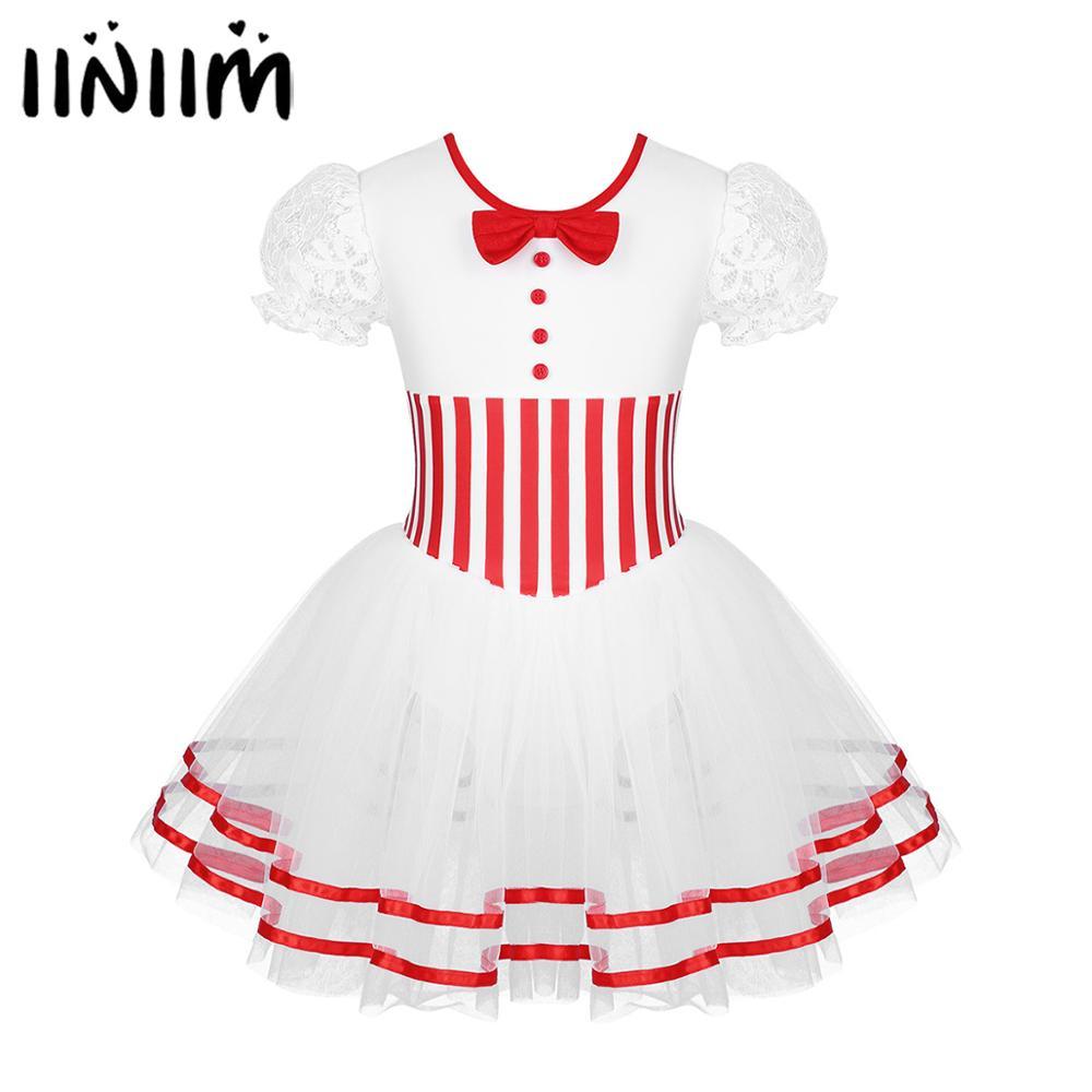 Iiniim Kids Girls Lyrical Dance Costumes Striped Figure Ice Skating Dresses Baton Twirling Snap Leotard Dress Hot Dance Wear