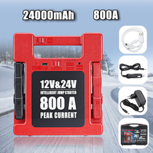 24000mA 12V 24V Auto Jump Starter 800A Draagbare Power Bank Charger Emergency Jump Starter Batterij Booster Voor Auto truck Boot Bus