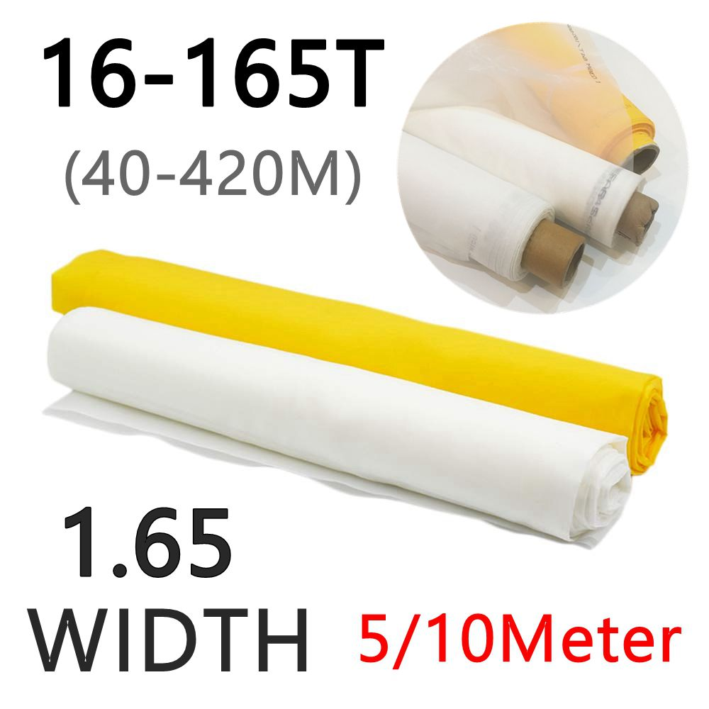 White 5/10 Meters 40-420M Polyester Silk Screen Printing Mesh 160cm Width 16T/32T/39T/47T/53T/62T/80T/100T/120T/140T/150T/165T