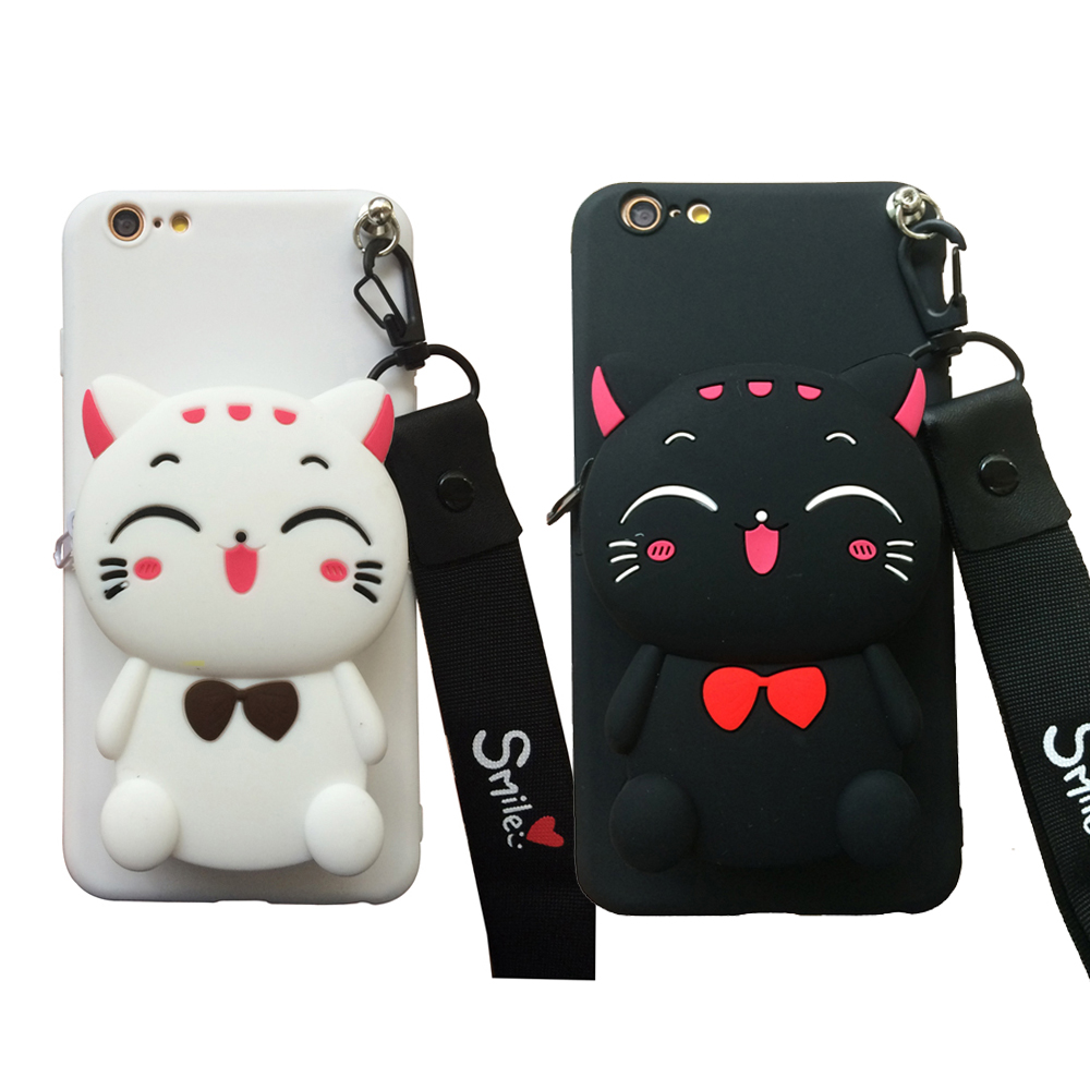 For <font><b>Xiaomi</b></font> Mi A1 A2 F1 6 8 9 <font><b>3D</b></font> Cartoon Animal Soft Silicone Purse Case Wallet Phone Cover With Strape Chain Shell Bag Cable image