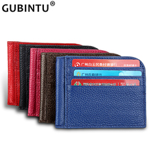 2019 New Slim Men Wallet ID Credit Card Holders Genuine Leather Card Wallet Women Mini Purse Portable Thin Small Cash Card Case