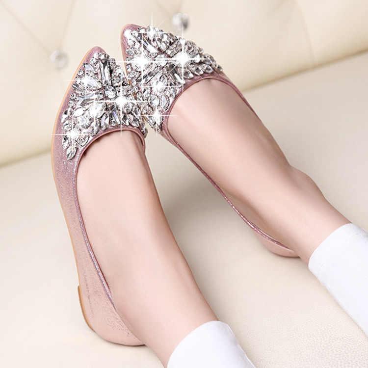 2019 Hot Mulheres Flats Cool Cristal Sapatas Lisas Das Mulheres Mocassins Ballet Flats Bling Bling Rosa Sapatos Casuais Apontou Toe Deslizamento em 35-40