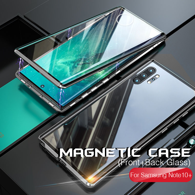 360° magnetic double side glass case for samsung galaxy note10 note10plus note10+ note 10 10plus not 10+ protective shell cover|  -