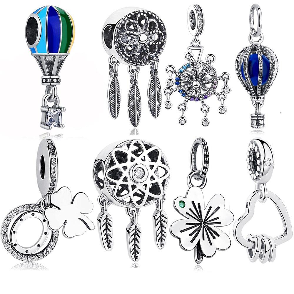 Оригинальные бусины из стерлингового серебра 925 амулеты, подходят к оригинальному браслету Pandora, DIY, семейному дереву, клеверу, сердцу, бусин...