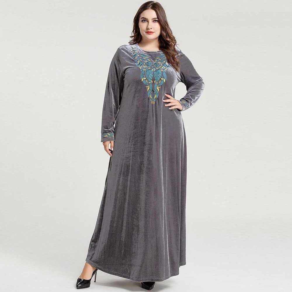 ベルベットの冬ドレスドバイアバヤ着物イスラム教徒ロングドレスカフタン Abayas イスラム服女性カフタンローブプラスサイズ