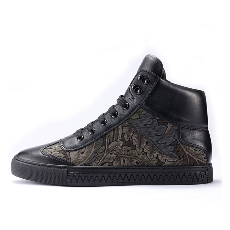 European Casual Breathable Man Shoes 2020 New Winter Genuine Leather Warm High Top Shoes Fashion Printing Floral Man Footwear