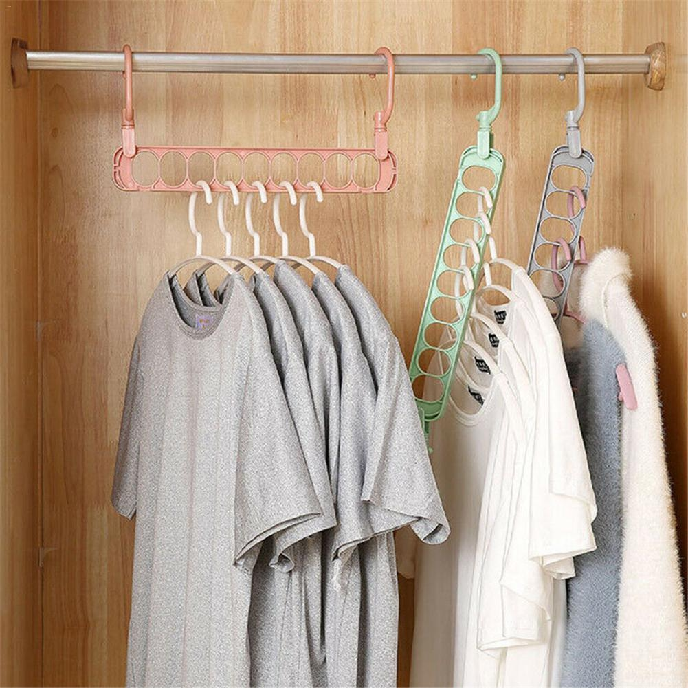 9 Hole Multifunctional Plastic Hanger Double Hook Clothes Hang Wardrobe Multi-Layer Hanging Clothes Non-Slip Drying