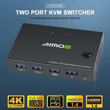Новинка 2020 г., выход 4K USB HDMI KVM, видеодисплей, USB-переключатель, сплиттер для 2 ПК, для совместного использования клавиатуры, мыши, детской и мно...