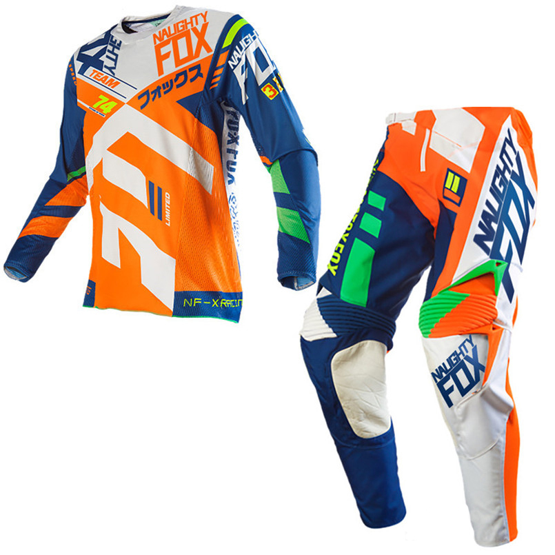 2020 NAUGHTY FOX Motocross Downhill Bike Off-road Gear Set 360 Divizion Full Set Jersey Pants Combo Orange Suit