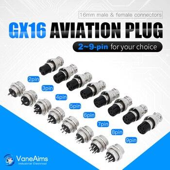 цена на 1set GX16 2/3/4/5/6/7/8/9 Pin Male & Female 16mm L70-78 Circular Aviation Socket Plug Wire Panel Connector