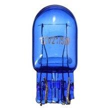 1/2/4 pces t20 580 7443 w21/5w 12v w3x16q azul natural parada de vidro freio cauda sinal do carro lâmpadas laterais luz