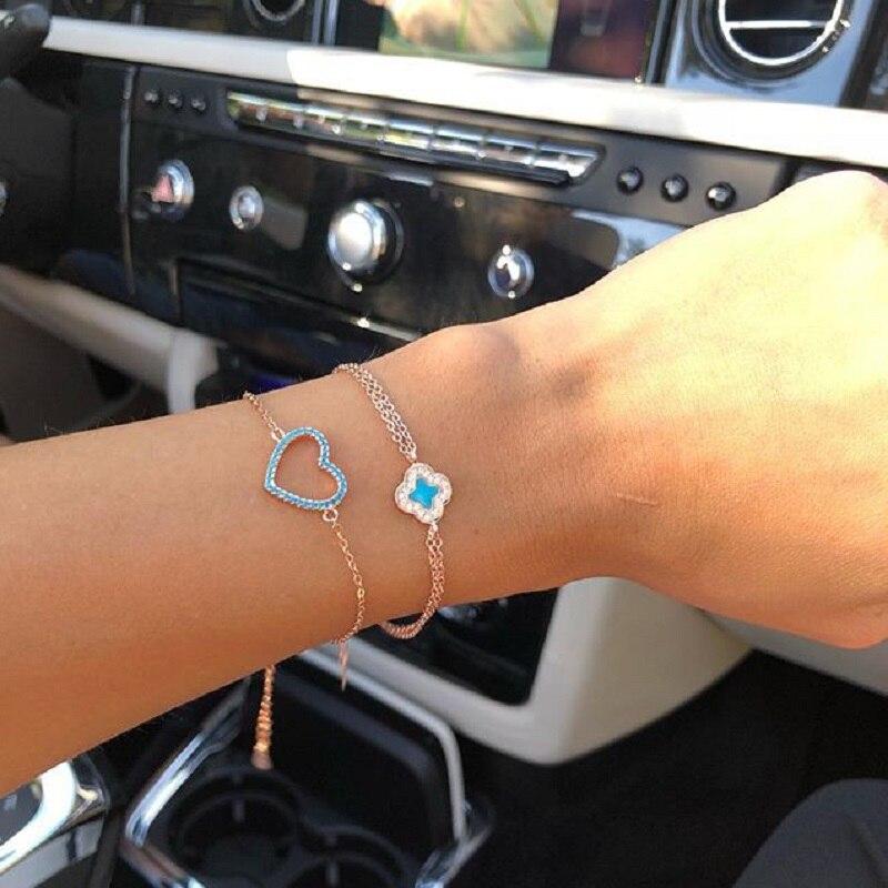 Bracelet en argent Sterling 100% pour femmes, bijoux délicats avec motif de saint-valentin, turquoise, cœur mignon, charmant pour fille amoureuse, 925