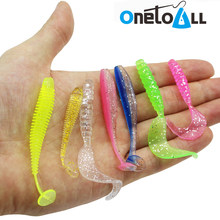 Lot 50 Pcs 5.5 to 7.5 Cm Soft Fishing Lure Silicone Wobbler Swim Bait Paddle Tail Grub Artificial Fishing Tackle Pike Bass
