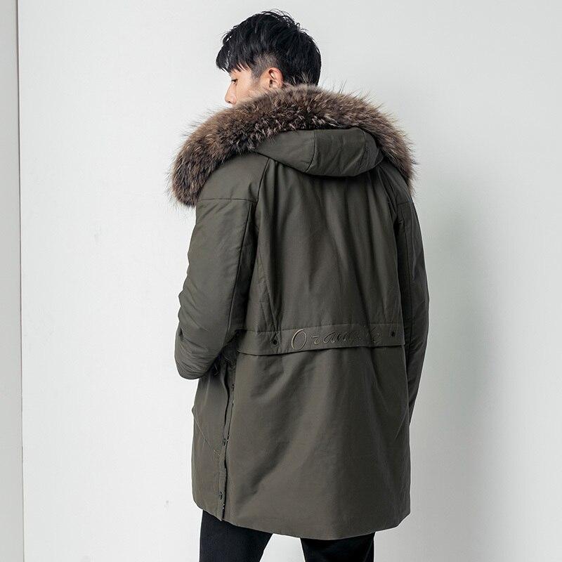 Genuine Leather Jacket Raccoon Fur Collar Down Jacket Winter Jacket Men Cow Leather Long Coat Z18JMN1883 MY1197