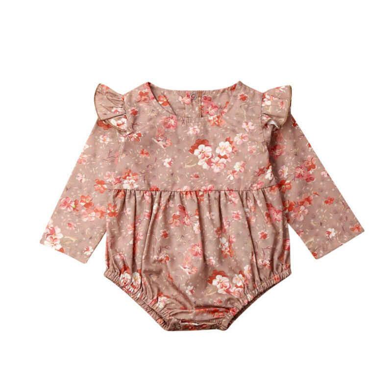 2019 bébé printemps automne vêtements nouveau-né bébé filles vêtements fleur combinaison body mouche à manches longues ensemble de tenue