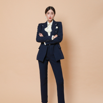 Summer Spring Formal Fashion Business Uniform Women Pant Suits 2 Piece Set slim Blazer Jacket Office lady business suit uniform business pant suits formal jacket and pant blazer set women office lady 2 two pieces suits uniform ka1089