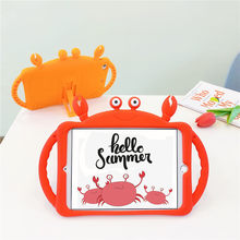 New Kids Adjust Stand Safe Soft Capa Case For iPad 2019 10.2inch,Cute Crab Cartoon Silicon Para Cover For iPad 2019 10.2 Case(China)