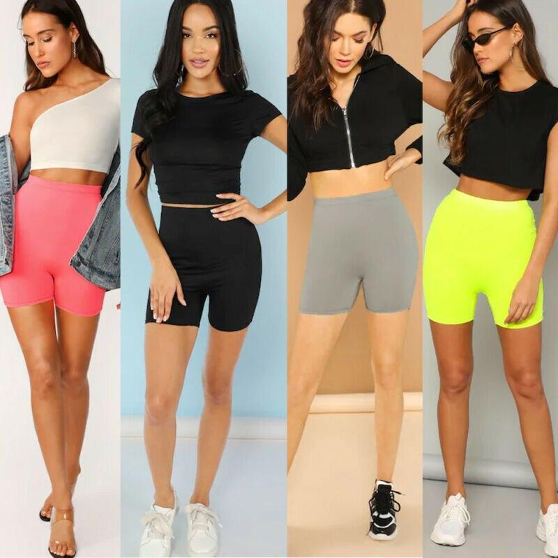 Hirigin Women Stretch Biker Bike Shorts Elastic High Waist Hot Short Fitness Workout Leggins Knee Length Shorts Gym Wear