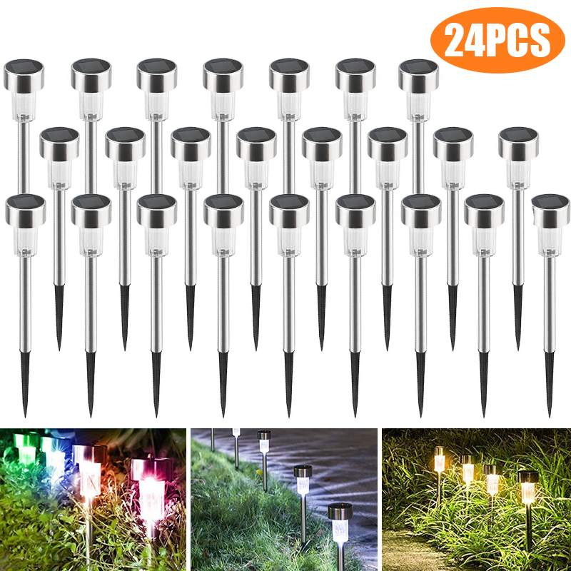 24PCS Mini Solar Lawn Lamps RGB LED Garden Light Stainless Steel Outdoor Lighting Waterproof IP65 Landscape Light Yard Light